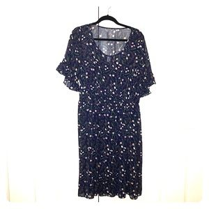 Navy floral waist defined sheer sleeve dress